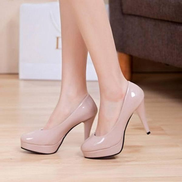 Japanned Leather Platform Round Toe High Heels - 64 Corp