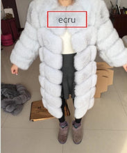 Real fur 2017 fox fur vest is 90 cm long coat sleeves design women free shipping