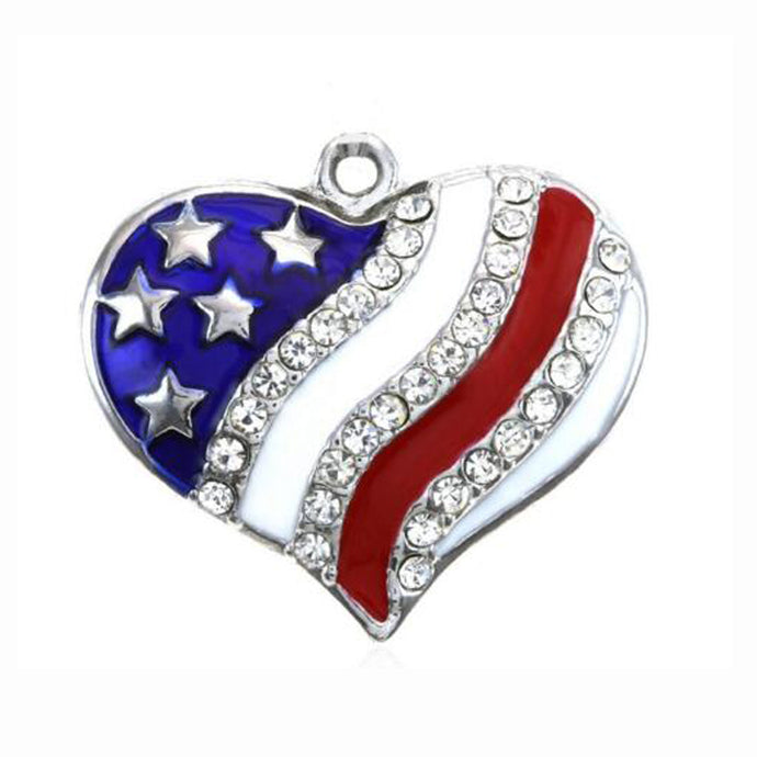 4th of July Independence Day Rhinestone Heart Pendant - 64 Corp