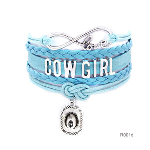 10pcs/lot Infinity Love girls Bracelets Cowgirl Bracelet  Sports Suede pu Leather Cheer Bracelets for women R001- Drop Shipping - 64 Corp