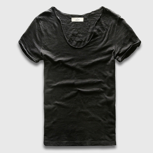 Zecmos Brand Men T-Shirt Plain Hip Hop Fashion Casual XXXL V Neck T Shirt Swag For Men Short Sleeve Man Top Tees - 64 Corp