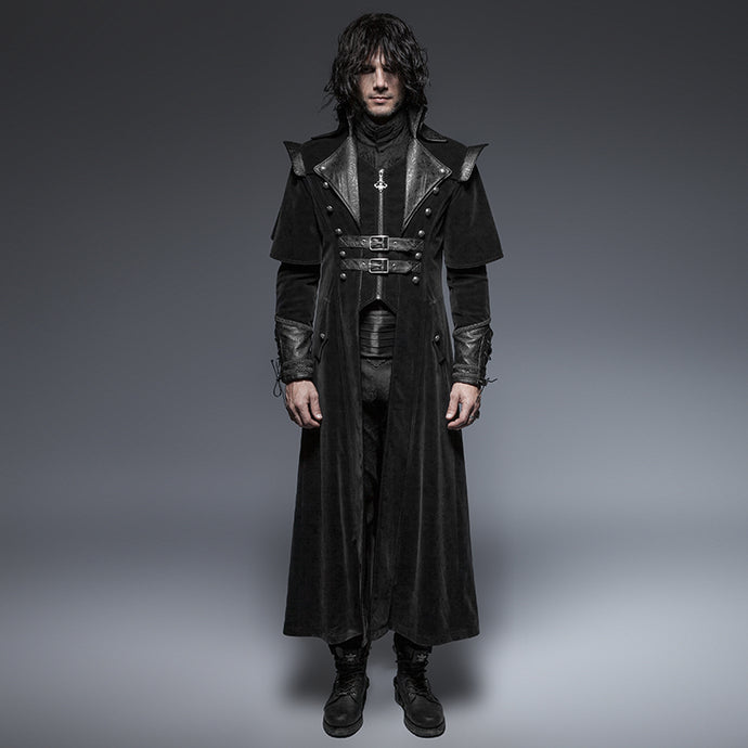 Gothic Cool Leather Belts Long Cloak Coat for Men Visual Kei Steampunk Black Casual Long Jacket Cape Style Overcoats - 64 Corp
