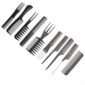10pcs/Set Professional Hair Brush Comb Salon Barber Anti-static Hair Combs Hairbrush Hairdressing Combs Hair Care Styling Tools - 64 Corp