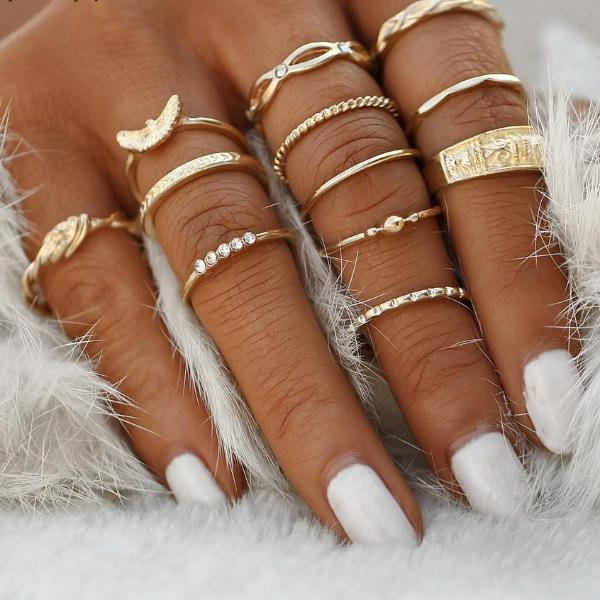 17KM 12 pc/set Charm Gold Color Midi Finger Ring Set for Women Vintage Boho Knuckle Party Rings Punk Jewelry Gift for Girl - 64 Corp