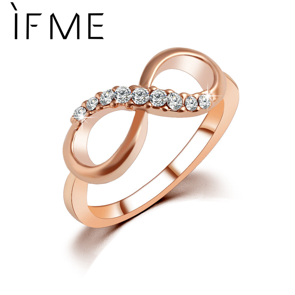 IF ME New Design hot sale Fashion Alloy Crystal Rings Gold Color Infinity Ring Statement jewelry Wholesale for women Jewelry - 64 Corp