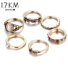 17KM Retro Style Vintage Leaf Boho Jewelry Unique Carving Tibetan Gold Color Rings for Woman 6PCS/Set Punk Opal Ring Sets - 64 Corp
