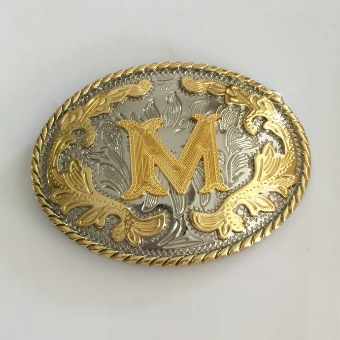 Retail 6 Different New Style Western Men Golden Initial Letter Belt Buckle A B J M W Z With Oval Metal Cowboy Belt Head Jewelry - 64 Corp