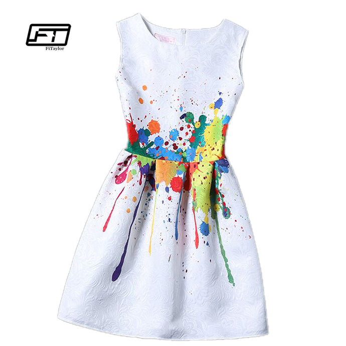 new women printed flower dress sleeveless knee length one piece dress casual slim bodycon korea college vintage dress - 64 Corp
