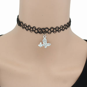 2017 New Vintage Stretch Tattoo Choker Necklace Gothic Punk Grunge Henna Elastic With Pendant Necklaces DY000 - 64 Corp
