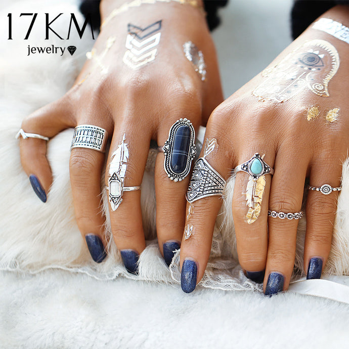 17KM Boho Jewelry Stone Midi Ring Sets for Women Anel Vintage Tibetan Turkish Silver Color Flower Knuckle Rings Gift 8pcs/Set - 64 Corp
