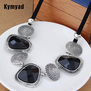 Kymyad Vintage Choker Statement Necklace Women Bijoux Rope Chain Resin Geometric Necklaces & Pendants Big Chunky Necklaces - 64 Corp