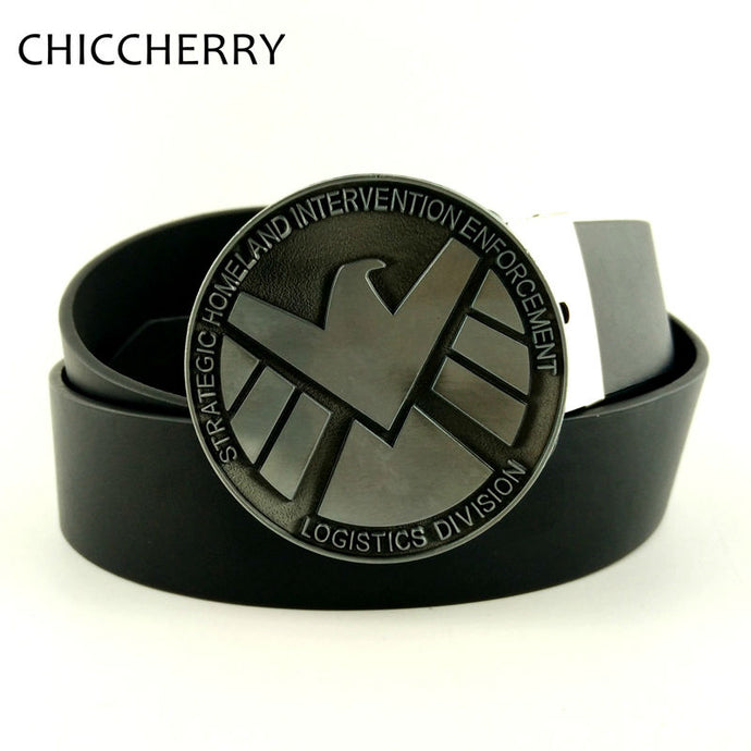 Agents of  S.H.I.E.L.D. Shield Avengers Cowboys Cowgirls Western Metal Round Belt Buckle Texas Mens Pu Leather Belts For Jeans - 64 Corp