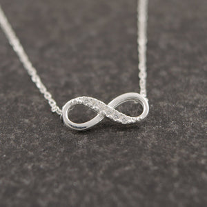 Lucky Number Eight Geometric Silver Long Chain Necklace - 64 Corp