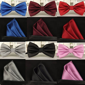 SHENNAIWEI silk Solid Business bowtie men vintage purple black yellow silver wedding bow tie pocket square handkerchief set lote - 64 Corp