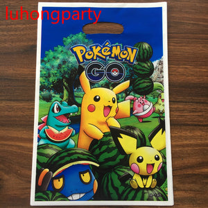 10pcs 25*15.5cm Pokemon Go Plastic Gift Bags for Kids Birthday Party Decoration Baby Shower candy loot gift bag - 64 Corp