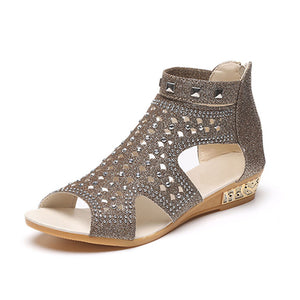 Casual Rome Summer Shoes Fashion Rivet Gladiator Wedges - 64 Corp
