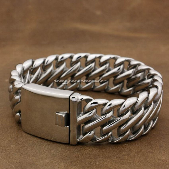 LINSION Huge Heavy 316L Stainless Steel 14 Lengths Mens Biker Rocker Punk Bracelet 5L002 Free Shipping - 64 Corp