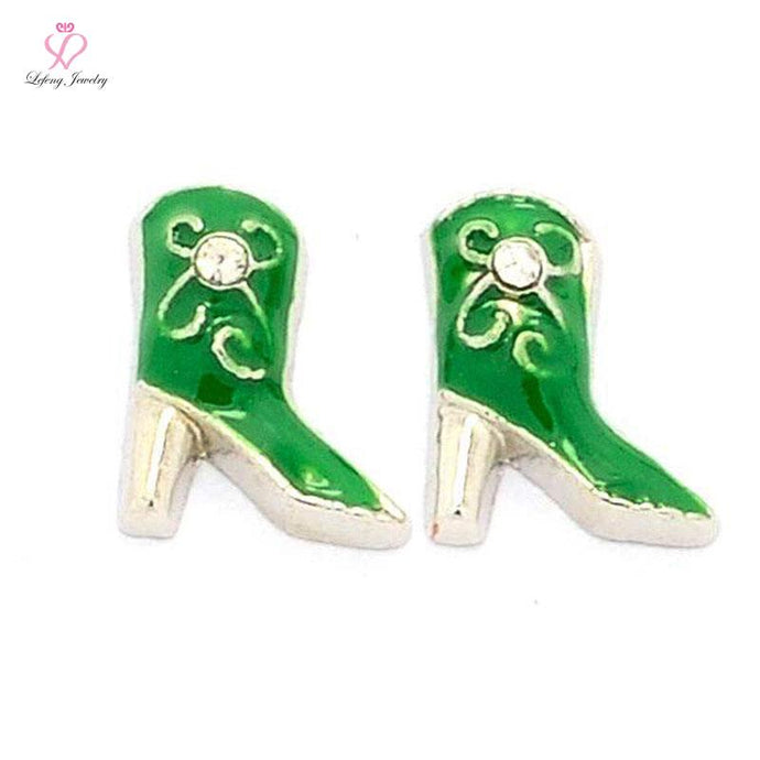 Fashion Cute Enamel Green Cowgirl Boot floating charms for Magnetic Memory Glass floating Locket FC452 - 64 Corp