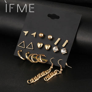 9 pcs/Set Crystal Heart Gold Color Stud Earrings Tassel Triangle Vintage Silver Color Earring Set For Women Jewelry Oorbellen - 64 Corp