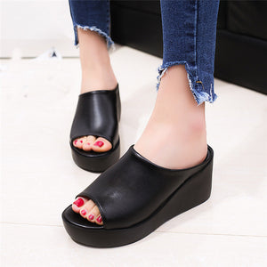 Hot Sale Women Summer Fashion Leisure shoes women platform wedges Fish Mouth Sandals Thick Bottom Slippers g072 - 64 Corp