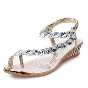Rhinestone Summer Slip On Wedges - 64 Corp