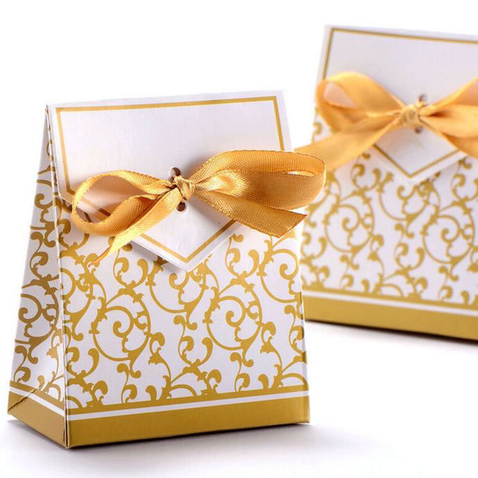 New 10pcs Creative Golden Silver Ribbon Wedding Favours Party Gift Candy Paper Box Cookie Candy gift bags Event Party Supplies - 64 Corp