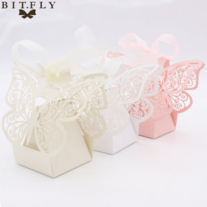 50pcs Candy Box Wedding Gift Bag paper Butterfly Decorations for Wedding baby shower birthday Guests Favors Event Party Supplies - 64 Corp