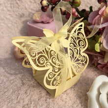10Pcs/set Butterfly Laser Cut Hollow Carriage Favors Box Gifts Candy Boxes With Ribbon Baby Shower Wedding Event Party Supplies - 64 Corp
