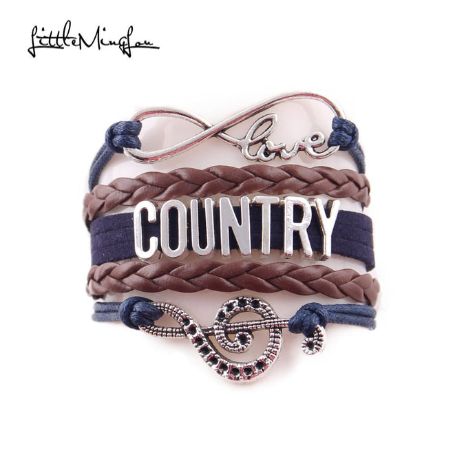 Little Minglou Infinity Love country bracelet music note cowboy hat Charm leather wrap men bracelets & bangles for women Jewelry - 64 Corp
