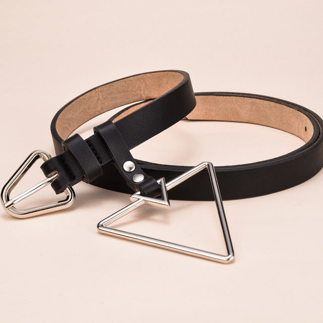 Rocker Fashion Leather Triangle Metal Belts - 64 Corp