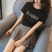 Happy Letter Print T Shirts - 64 Corp