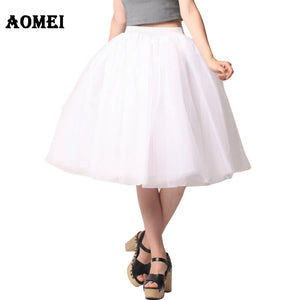 Women White Princess Tulle Skirt  Knee Length Junior Girls Lolita Cute Plus Size Grunge Jupe Female A Line Tutu Skirts New Puff - 64 Corp