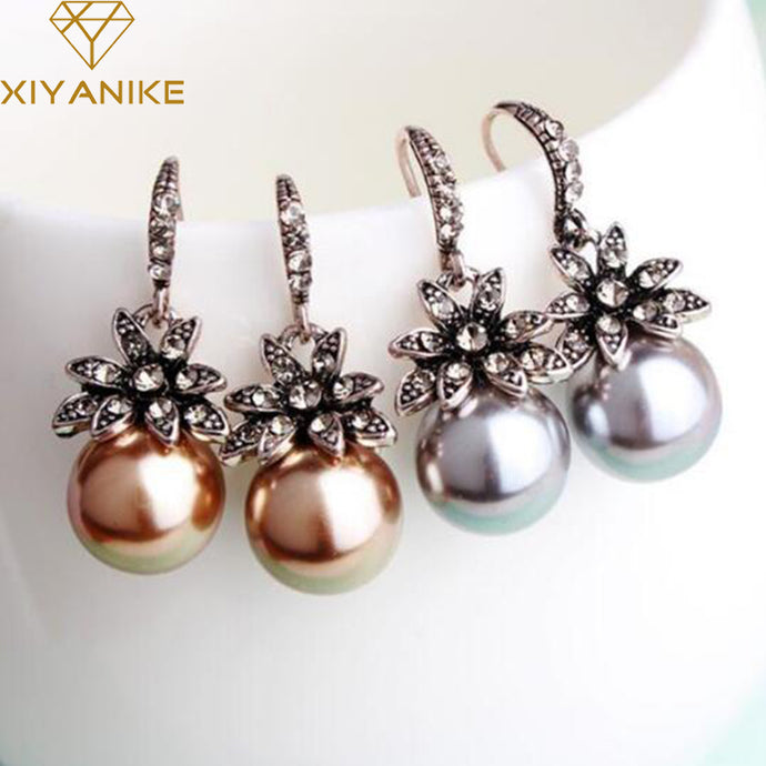 New Fashion Luxury Vintage Sun Flower Pearl Drop Earrings For Women Fine Jewelry Accessory Brincos High Quality XY-E144 - 64 Corp