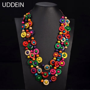 UDDEIN Bohemia Ethnic Necklace & Pendant Multi Layer Beads Jewelry Vintage Statement Long Necklace Women Handmade Wood Jewelry - 64 Corp