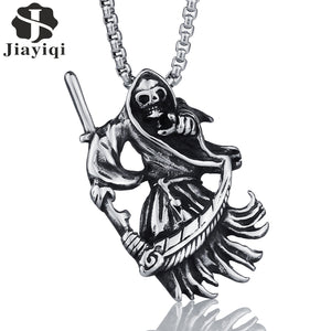 Jiayiqi Punk Gothic Jewelry Retro Punk Skeleton Charm Pendant Stainless The Death Grim Reaper Necklace For Men Best Gifts - 64 Corp