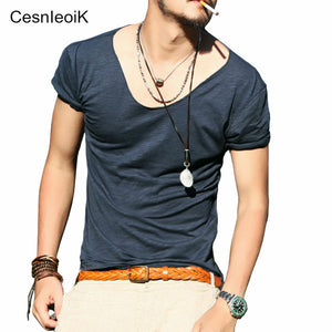 Men's Exclusive Pretty Tops V Neck T Shirts Stunning Cut Off Border New Summer Style #Q001 - 64 Corp
