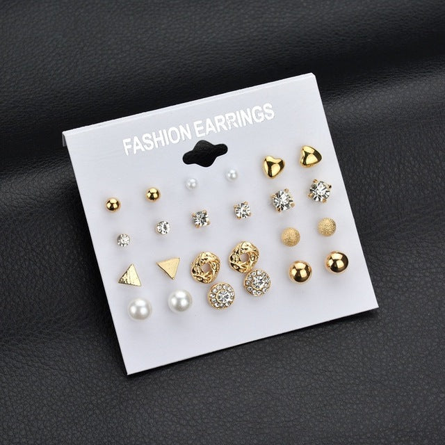 MissCyCy Fashion 12 pair/set Women Square Crystal Heart Stud Earrings for Women Piercing Simulated Pearl Flower Earrings - 64 Corp