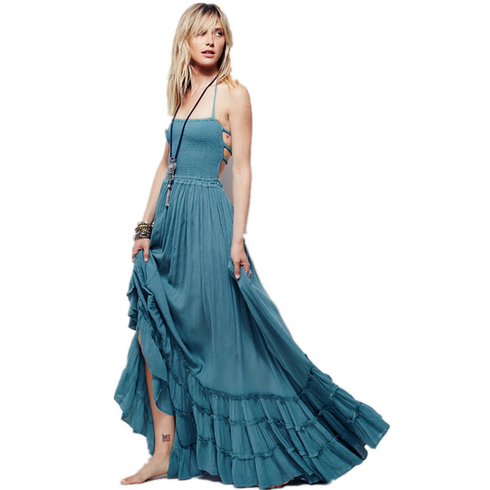 Boho chic halter chiffon long dress Women backless 2017 maxi dresses vestidos Sexy split beach summer dress beach wear mori girl - 64 Corp