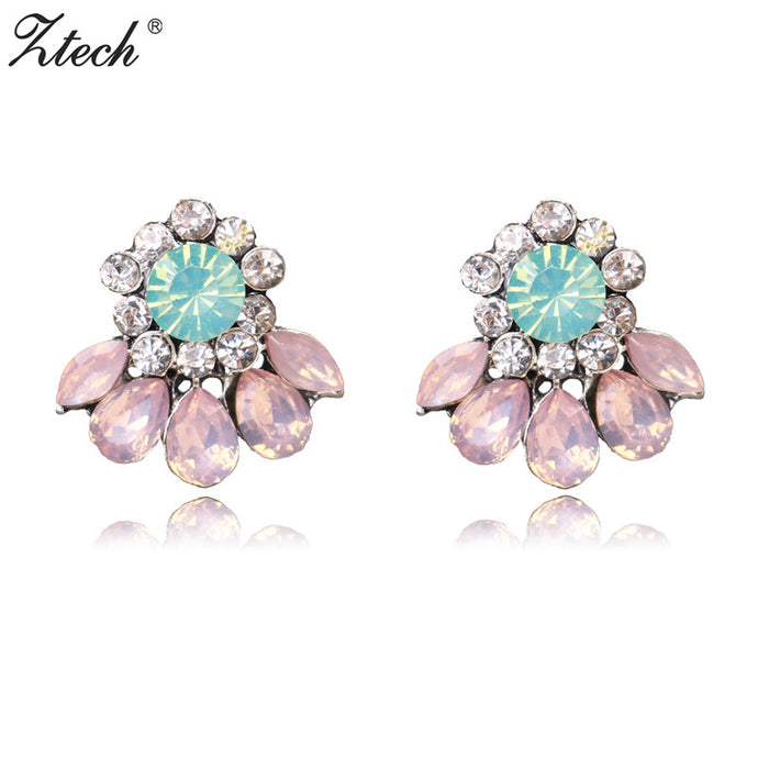 Ztech 2017 Statement Stud Earrings For Women Girl Party Chic Trendy Earring pink Colors Wholesale Price brincos - 64 Corp