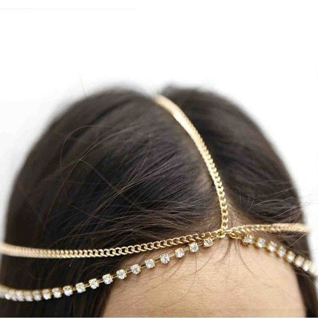 Fashion Women Lady Metal Gold Silver Multilayer Boho Head Chain Headband Headpiece Bridal Wedding Hairstyle Hair Accessories - 64 Corp
