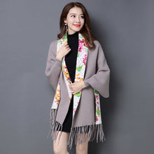 2017 Brand print flower Cashmere Pashmina women HOT SALE fashion tassel scarf Female shawl long Sleeve high quality Ponchos Cape - 64 Corp