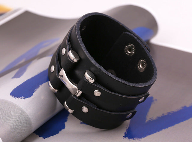 Cool Punk Grunge PU Leather Wide Bracelet - 64 Corp