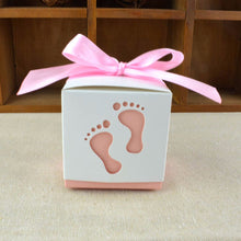 10pcs/set Baby Foot Candy Box Baby Shower Sweet Bag Footprints On The Beach Favour Free Ribbon Gift Box Baptism Candy Container - 64 Corp