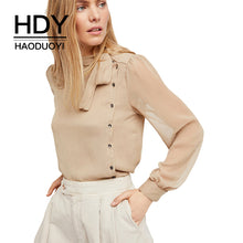HDY Haoduoyi Apparel Solid Color Semi-Sheer Sexy Women Shirts Lace-up Belt Single Breasted Lady Tops Preppy Style Casual Blouses - 64 Corp