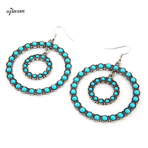 Boho Chic Earrings Hippie Gypsy Earrings Hoop Bohemian Earrings aritos Indian Native American Jewelry Navajo Tribal Earrings - 64 Corp