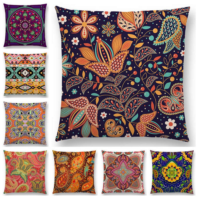Hot Sale Boho Paisley Oriental Floral Pattern Navajo Geometric Prints Fantasy Petal Flowers Cushion Cover Sofa Throw Pillow Case - 64 Corp