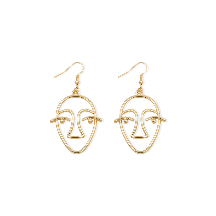 Artsy Museum Artworks Organically Shaped Metal Alloy Drop Earrings Gold Color Hollow Face Brinco Jewelry for Fashion Women E0176 - 64 Corp