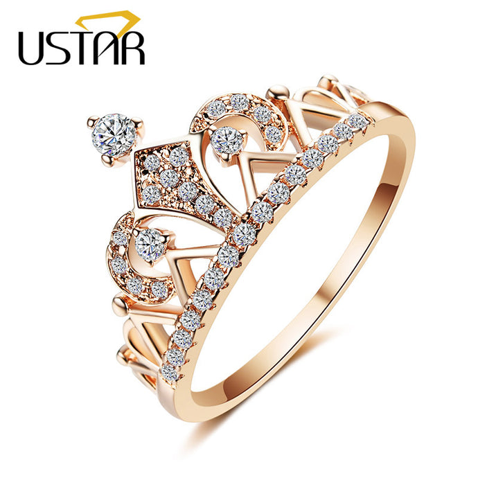 USTAR Princess Crown Rings for women AAA cubic zirconia micro pave setting engagement wedding rings female Anel accessories - 64 Corp