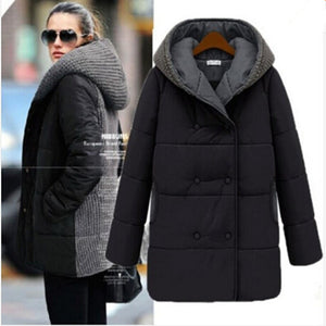 AILOOGE 2017 New Winter Jacket Women Wool Stitching Slim Thickening Medium-long Sections Fashion Women Cotton Coats