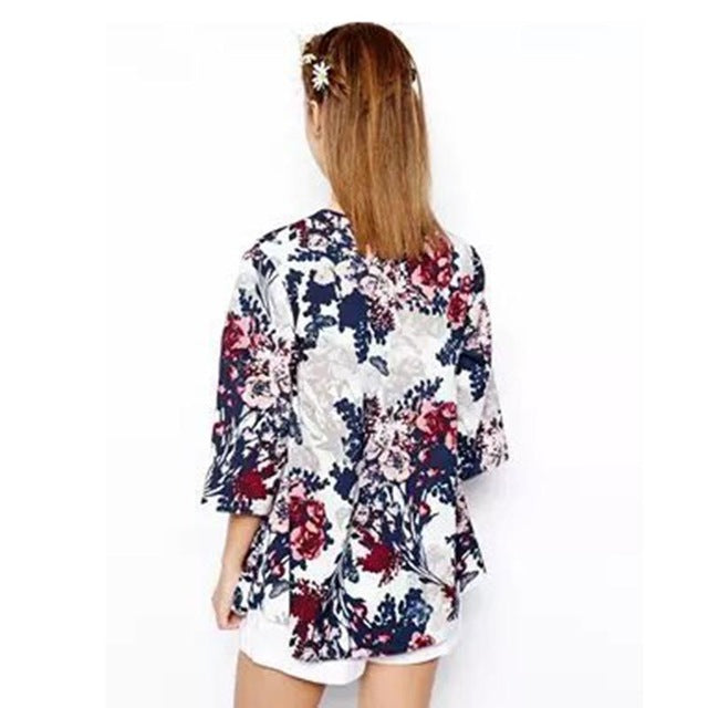2017 New Hot Summer Casual Women Tops Jacket Autumn Spring Flower Jacket Floral Outwear Female Coat  Kimono Outwear - 64 Corp